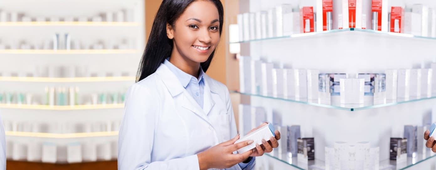 smiling female pharmacist